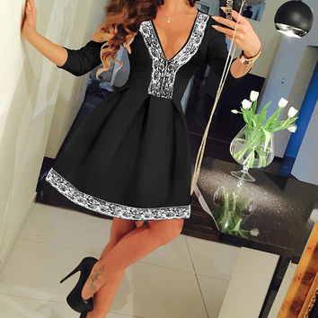 Black Lace V-Neck Skater Mini Dress