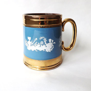 Coffee or Tea Lovers Mug, Large Coffee Cup, Vintage Female Gift, Faux Jasperware, Mom Stocking Stuffer, Cupid Cherub, Gold Luster, Gibsons