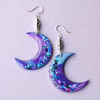 Galaxy Moon Dangle Earrings Jewelry // Moon Earrings, Soft Grunge, Space Jewelry, Witchy Jewelry, Mystical, Magical Unicorn, Rainbow