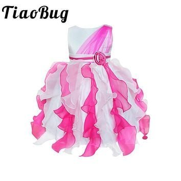 TiaoBug 6 Colors Gorgeous Flower Girls Dresses for Wedding Ruffle Pageant Party Prom Dresses Girls Communion Christening Dress