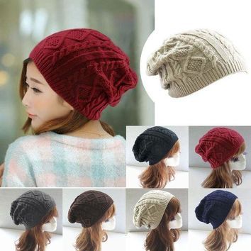 VONG2W Women New Design Caps Twist Pattern Women Winter Hat Knitted Sweater Fashion beanie Hats For Women 6 colors gorros Y1 Q1