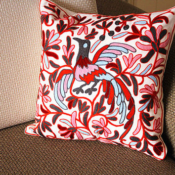 "Designer canvas Pillow - beige red bird  Floral Embroidery Pillow Cover -18"" x 18"" /45 cm Decorative Cushion Cover Throw Pillow cover 74"
