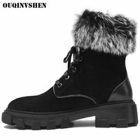 OUQINVSHEN Round Toe Square heel Women Snow Boots Fashion Mid Heel Ladies Ankle Boots Winter Fur Velvet Women's Knight Boots