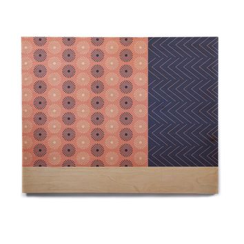 """afe images """"AFE Geometric Abstract"""" Blue Coral Abstract Pattern Digital Illustration Birchwood Wall Art"""
