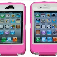 Iphone 4 4S Body Armor Defender Pink and Whtie - Comparable to Otterbox Defender + 1 Cool Colors USB charger cord for iphone & Silicon Braclet