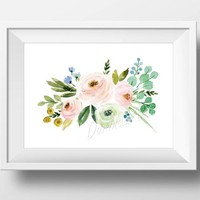 Floral nursery wall art Printable Coral Watercolor flowers DOWNLOAD Pink, mint nursery wall decor Pastel Nursery print 5x7 8x10 11x14 16x20