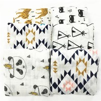 Multifunctional Baby Organic Cotton Muslin Swaddle Blanket Swaddling Blankets Newborn Infant baby blanket Triangle XO Swiss