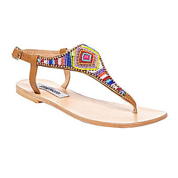 Steve Madden Asterrr Beaded Flat Sandals - Multi