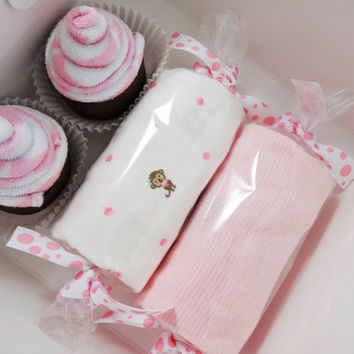 Baby Girl Gift Washcloth Cupcakes Box - 6-12 month - Monkey
