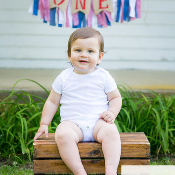 Boy Birthday Banner - gingham birthday banner - country birthday party - denim banner - denim 1st birthday - barnyard party - 1st Birthday