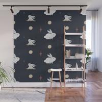 Bunnies on the Moon Wall Mural by lalainelim