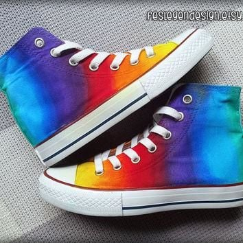 Rainbow Custom Converse / Colorful Painted Shoes