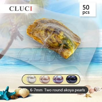 CLUCI Brandy 50pcs/lot 6-7mm two round Akoya pearls in one oyster, AAA grade love wish pearls for necklace making, best gifts
