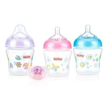 Nuby Natural Touch 6 ounce Bottles 3 Pack with Pacifier, Girl Assortment - Walmart.com