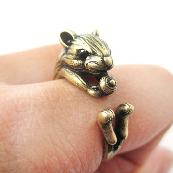 Realistic Hamster Gerbil With Walnut Animal Wrap Ring in Brass | US Size 6 to 9