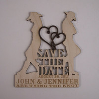 Country Western Save the Date, Wood Shapes, Custom Engraved Favors, Magnets, Personalized Wood Favors, Wood Save the Date, 25 PIECES