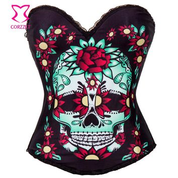 Floral & Skull Pattern Burlesque Corsage Bustier Top Steampunk Rave Gothic Clothing