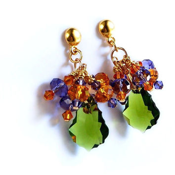 Purple and Green and Topaz Swarovski Crystal Earrings long Chandelier dangle earrings olivine amber lavender amethyst on gold vermeil posts