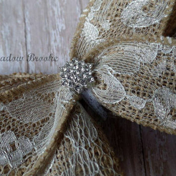 LARGE HAIRBOW, oversized, burlap and lace bow, southern, boutique, stacked, rhinestone, baby girl, toddler, adult, sassy, shabby, rustic