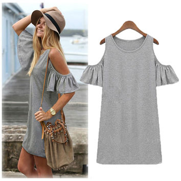 Off Shoulder Butterfly Sleeve Casual Mini Dress