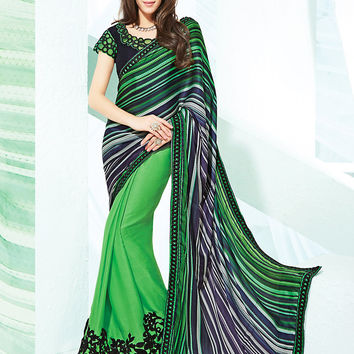 Striking Printed Pallu Saree in Lime Green Color
