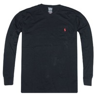 Polo Ralph Lauren Men's Long Sleeve Front Pocket Pony Logo T-shirt (X-Large, French Navy)