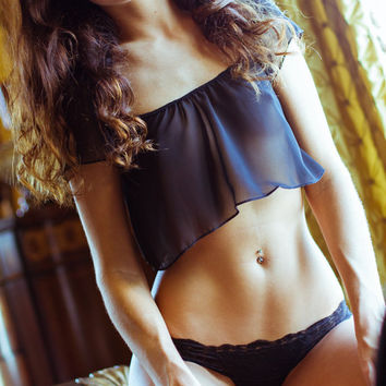 See through blouse - Black Lingerie Sheer - Chiffon Crop Top - Small - VDAY color Options
