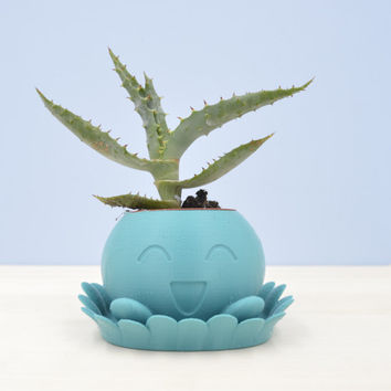 Oddish Planter/planter with saucer/3D planter/Aqua air plant/Pokemon planter/indoor planter/saucer and drainage/Mini planter/cactus planter