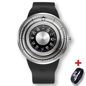 Creative 3D Stainless Steel Dial Rotating Beads Silicone Watch + Free Digital Led Band