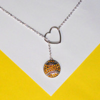 Softball Necklace with Rhinestones and Heart, handmade jewelry