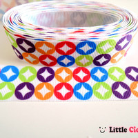"5 Yards 7/8"" Colorful Rainbow Stars Pattern on White Grosgrain Ribbon - 7/8"" ribbon by the yard - Prints Ribbon - Pattern Ribbon"
