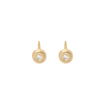 Gold Disc Studs with Diamond