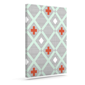 "Pellerina Design ""Mint Lattice Weave"" Gray Mint Outdoor Canvas Wall Art"