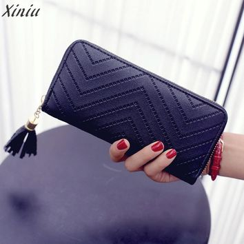 Best match Wallet Women Lady Leather Card Holder Long Wallet Clutch Tassel coin Purse high quality Carteira Feminina gift#5