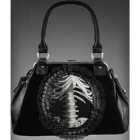 Restyle Gothic Goth Occult HANDBAG | Human Skeleton In Lace