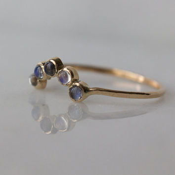 Dainty Arc Ring with ultra clear Rainbow Moonstones set in 14k yellow gold / stacking ring / June birthstone ring / One of a kind / ooak
