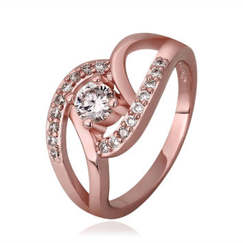 Rose Gold Plated Multi-Knotted Jewel Ring