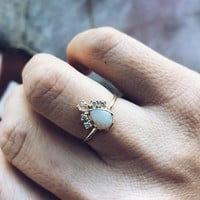 Pear Opal Crown Ring