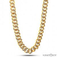 King Ice 14K Gold 15MM CZ Cuban Curb Chain | Hip Hop Jewelry | Urban Style Chain