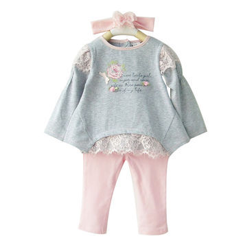 Baby Girl Toddler Cute Floral Lace Infant 3pcs Outfit Set