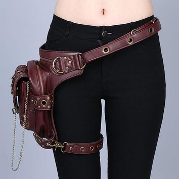 Brown Leather Steampunk Mini Motorcycle Leg Thigh Holster Bag
