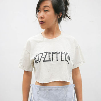 vtg 70's led zeppelin crop top, classic rock, zoso, white cropped vintage tee t shirt, 1990s ironic vtg tumblr soft grunge, urban outfitters