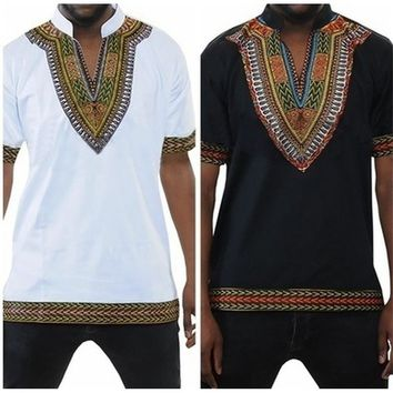 Men's African Bright Dashiki Unisex Bright African Tribal Floral Shirt Variety
