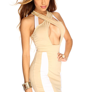 Beige Sleeveless Two Tone Sexy Short Club Wear Dress