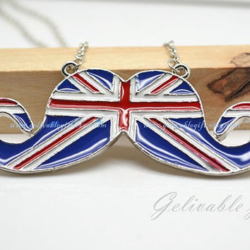 British Flag Mustache Necklace,UK Flag Mustache Necklace NMS03