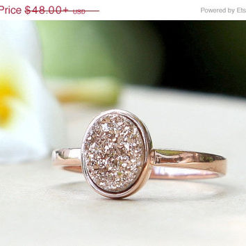 Mothers Day Sale Rose Gold Ring,Quartz Ring,Cocktail Ring,Geode Ring,Druzy Ring,Gemstone Ring,Agate ring,Stone ring,Drusy ring,Delicate ring