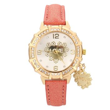 LOVE Tower Pendant Watches Women Fashion Watch 2017 Gift Top Brand Luxury PU Leather Rhinestone Quartz Watches Women Clock Reloj