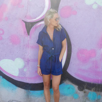The Poppy Playsuit, Linen Playsuit  - Collared, Button Down, Navy Linen Jumpsuit Romper