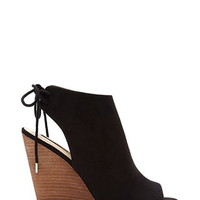 Faux Suede Peep-Toe Wedges