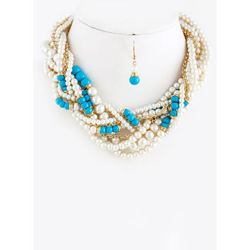 Mix Pearl & Stone Chunky Statement Necklace Set